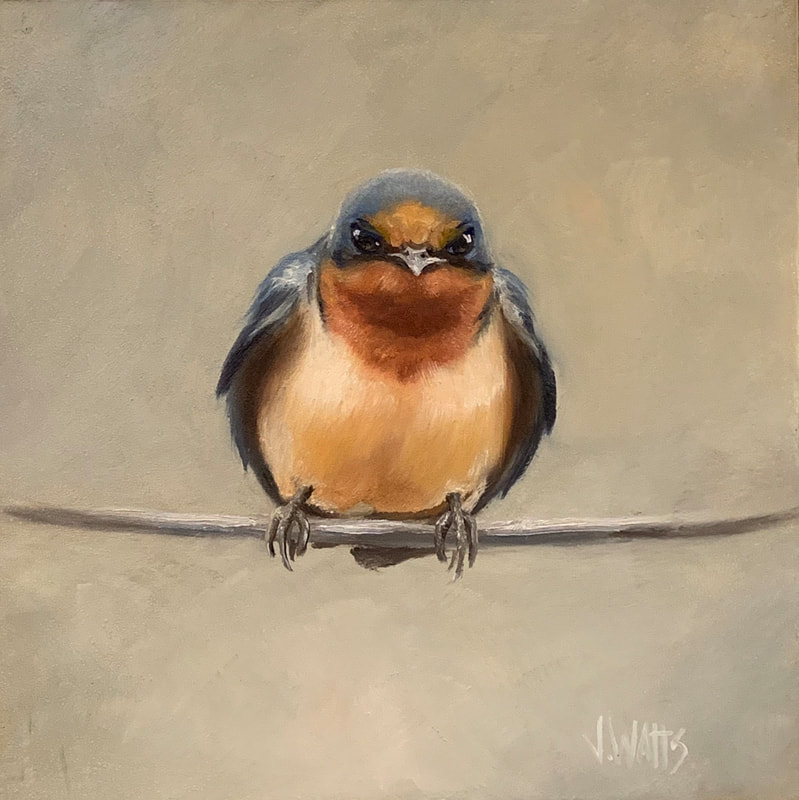 """not the bluebird of happiness""  oil on panel 8""x8"""